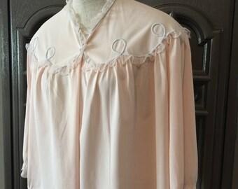 50s Vanity Fair Pink Blue Scroll Nylon Bed Jacket