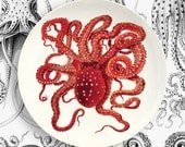 red octopus melamine plate