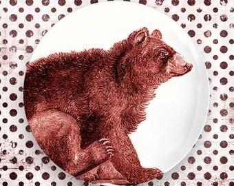 bear, red bear engraving melamine plate