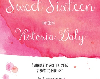 Pink & Red Watercolor Sweet 16 Invitation (Printable Digital File)