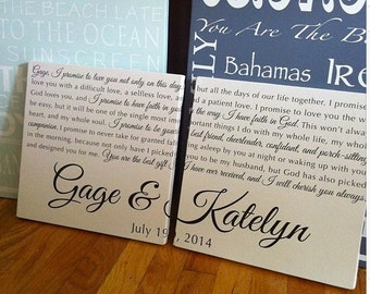 Set of 2, Custom Wedding Vows or First Dance Song Lyrics on canvas, personalized anniversary gift