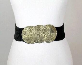 vintage 1980  belt 3 circles on elastic band