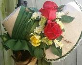 Red Roses 1830s Bonnet #3