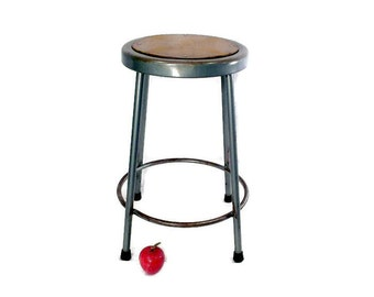 Vintage Metal Shop Stool - Industrial Decor - Krueger Metal Products - Green - Round - Barstool - Set Available - Urban Industrial