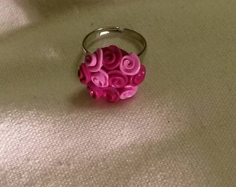 Vintage style rose ring - made from Polymer Clay