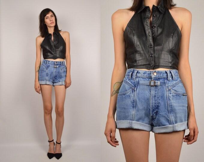 High Waisted Denim Cuffed Shorts vintage blue jean