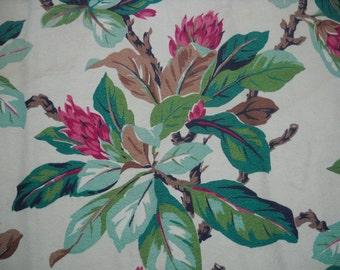 Vintage Barkcloth Fabric, Beautiful Big Floral Pattern