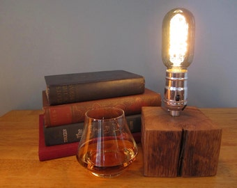 Edison Lamp, Accent Lamp, Desk Lamp, Rustic, Steampunk, Repurposed, Reclaimed, Weathered Wood, Repurposed Fence Post