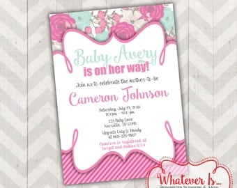Pink & Mint Floral Baby Shower Invitation