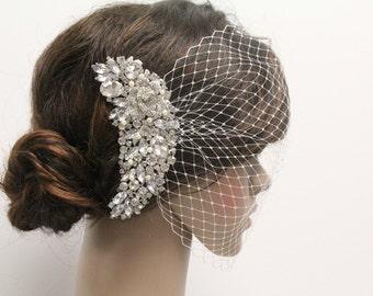 Bridal birdcage veil,Ivory bird cage veil hair comb,Pearl bridal veil,Wedding Fascinators,Bridal headpiece birdcage veil,Wedding accessories