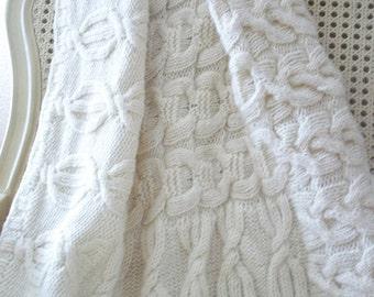 KNITTED BABY BLANKET, cream blanket, knitted cream baby blanket