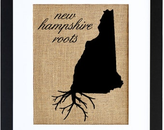 New Hampshire Roots Framed Burlap Print, Burlap Art, Wall Art, State Roots, Frame Included