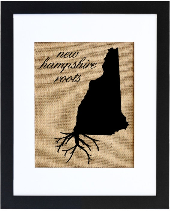 New Hampshire Roots Framed Burlap Print Burlap Art Wall Art