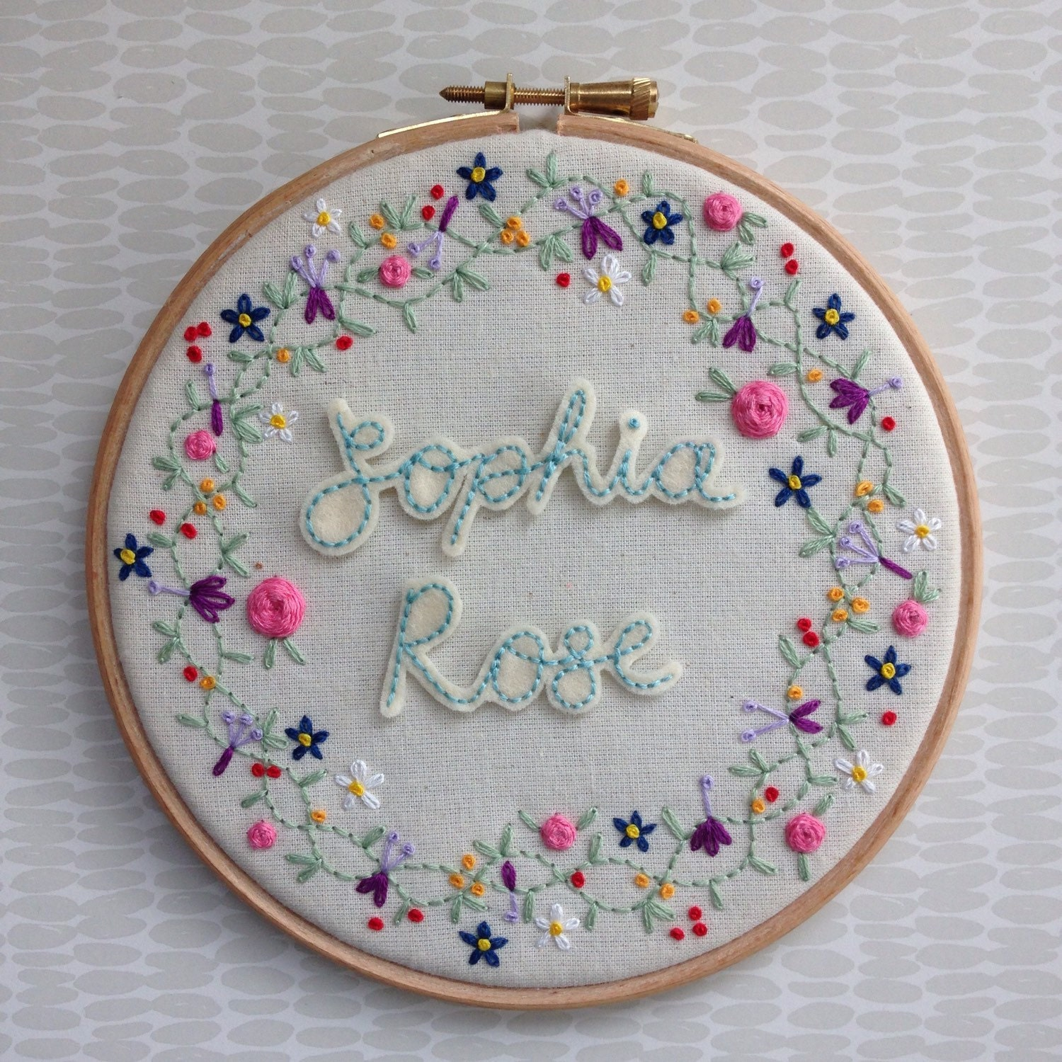 Hand embroidered floral embroidery hoop personalised name