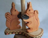 Russian wooden whirly toy - squirrels on carousel - vintage early 1990s - Moscow