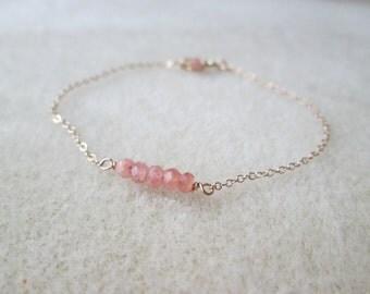 dainty RHODOCHROSITE gemstone bracelet on a sterling silver gold filled or rose gold filled chain healing gem delicate layering pink