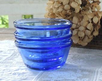 Anchor Hocking Blue Glass Bowls Set of 3, Custard Bowls, Vintage Housewares, 6 Oz Bowls, 177 ML, USA 12