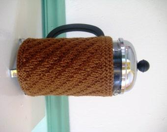 French Press Coffee Cozy, Diagonal Aran Stripe, Clove Brown