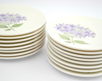 8 Saucers and 8 Bread/Salad Plates Boontonware-Melmac with Purple Flowers