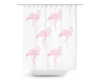 Flamingo shower curtain pink bathroom decor by rubyandb on etsy for Flamingo bathroom accessories set
