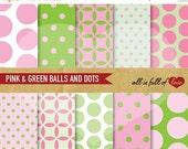 80% off Scrapbook Digital Paper GREEN PINK Balls Polka Dots Background Patterns 12/15