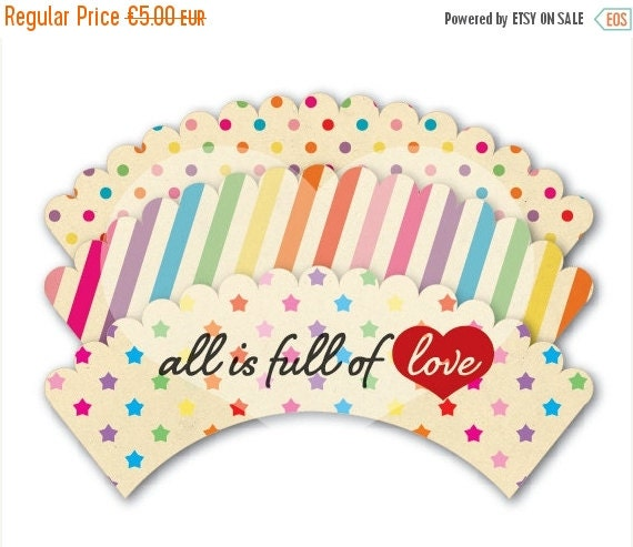 80% OFF Printable Cupcake Wrappers Retro Rainbow Liners INSTANT DOWNLOAD 00