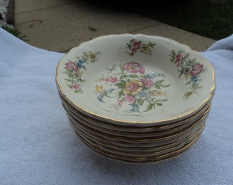 Sauce bowls/ lovely floral pattern/ trimmed in gold/Edwin Knowles China Co/ USA/ nine bowls/6 older  / 3 newer/ sold as a set