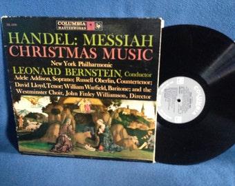 "Vintage, Handel: Messiah  - ""Christmas Music"", Vinyl LP, Record Album, Leonard Bernstein, New York Philharmoinic, Traditional Holiday Music"