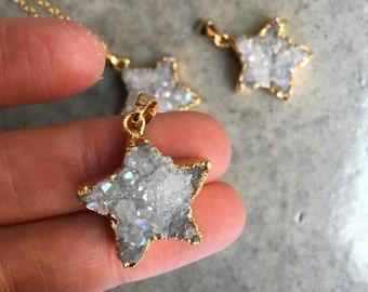 Star Druzy Crystal Quartz Necklace, boho chic