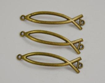10Beads Charm Fish Pendants Antique Brass bronze Plated Victorian Pendants Beads ----- 48mmx 12mm ----- 10Pieces E02
