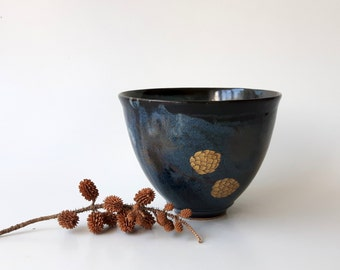 Ceramic Bowl in Deep Blue / Black with Pine Branches with Gold Pinecones, Pottery Cereal Bowl, Ice Cream Bowl by Cecilia Lind, StudioLInd