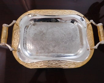 Gold and Silver Serving Tray with Handles, Wedding Tray, Party Tray