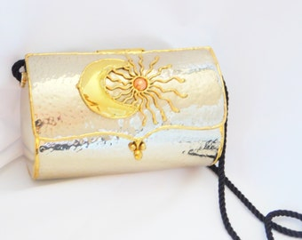 Gold Sun and Moon Purse, Gold Metal Purse, Evening Bag