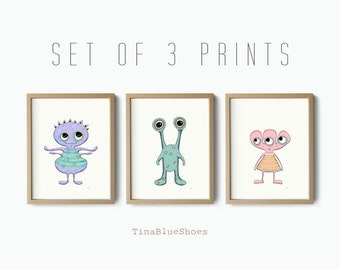 Set of 3 prints, monsters aliens art prints
