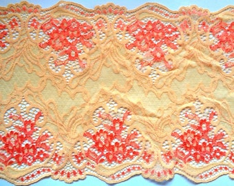 """Embroidered Tulle Wide Royal Lace, Orange, 7"""" inch wide, 1 Yard For Apparel, Home Decor, Accessories, Mixed Media"""