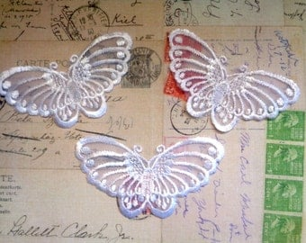 Embroidered Butterfly Appliques, Ivory, x 3, Embellishment For Apparel, Decor, Scrapbooks, Mixed Media, Accessories, Decor