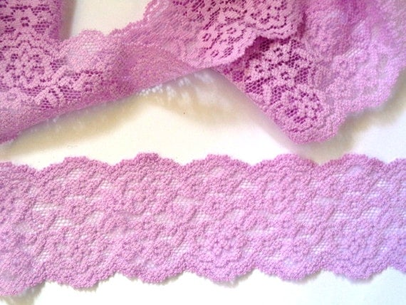 Stretch Galloon Lace Lilac 2 1 8 Inch Wide 1 Yard For