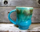 Stoneware Pottery mug, Coffee Mug, Hand painted mug, Pottery mug, White and blue mug, Vintage mug, Ceramics and Pottery