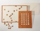 Greeting cards with paper insert and envelope - 3 24 stars/adventcalender cards