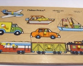Fisher Price Wooden Puzzle Vintage #508 Vehicles or Transportation