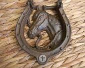 Cast Iron Horseshoe Horse Door Knocker, Silver Cross Christian Home Decor, Religious Gift, Front Door Rustic Decor, Western Doorknocker