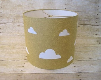Lamp Shade Cloud Drum Lampshade in Metallic Gold and White