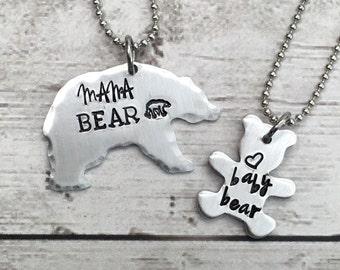 Mama Bear Necklace - Mama Baby Bear Necklaces - New Mom Necklace - Bear Necklace - New Baby Gift - Mommy Baby Necklace Set