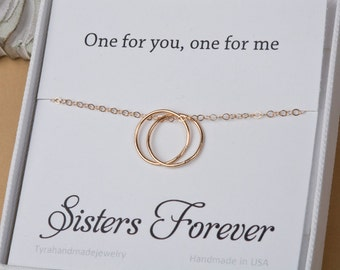 Personalized circle Necklace,Karma necklace,custom note card,14k Gold Fill or Sterling Silver eternity necklace,mother gift,sisters necklace