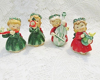 Christmas angel figurines ceramic Lefton holiday band with instruments and birds