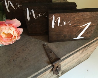 Rustic Wedding Table Numbers- Fall Wood Sign Table Numbers - Winter Woodland Theme Wedding - Spring Cursive Table Number - Summer Table Top