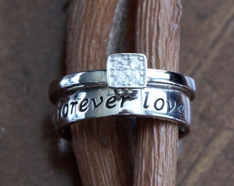 Promise Ring- Couple's Ring- Promise Ring- Anniversary Gift- Diamond Square CZ Ring- Stackable Ring