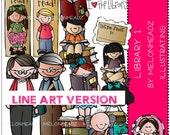 Library clip art - LINE ART