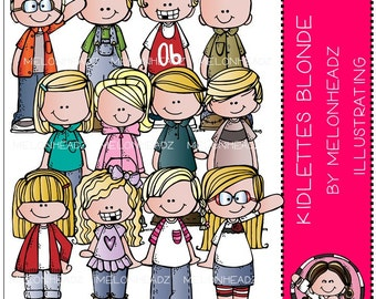 Kidlettes clip art - Blonde Haired - Combo Pack