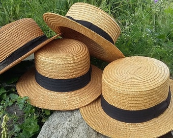 Authentic French Straw Boater Hat Black Grosgrain Ribbon, 1 Available